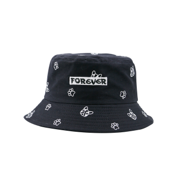Letters Embroidered Bucket Hat with Cartoon Pattern - FULL BLACK FULL BLACK
