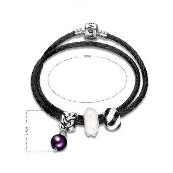Faux Leather Engraved Love Charm Bracelet - BLACK