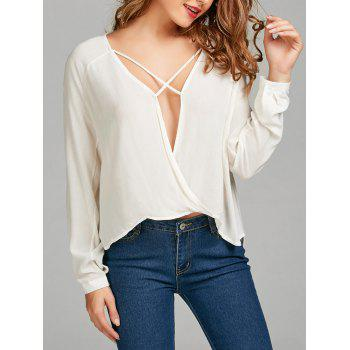 Criss Cross Cut Out High Low Blouse
