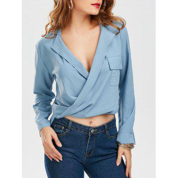 High Low Pocketed Wrap Blouse