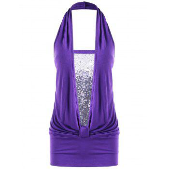 Ruched Sequins Halter Tank Top
