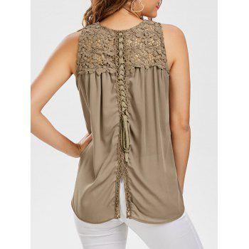 Floral Lace Insert Lace Up Tank Top