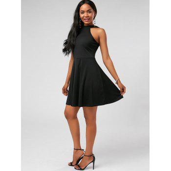 High Neck Fit and Flare Mini Cocktail Dress - M M