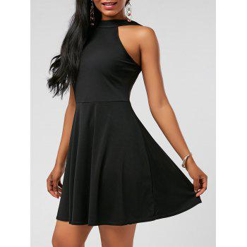 High Neck Fit and Flare Mini Cocktail Dress - BLACK BLACK