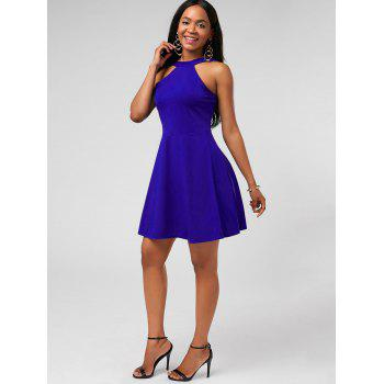 High Neck Fit and Flare Mini Cocktail Dress - BLUE XL