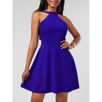 High Neck Fit and Flare Mini Cocktail Dress - BLUE M