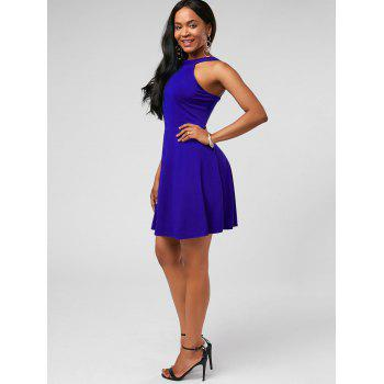 High Neck Fit and Flare Mini Cocktail Dress - S S