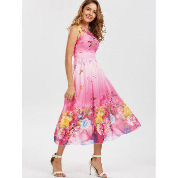 Bohemian Butterfly Floral Print Maxi Dress - 2XL 2XL
