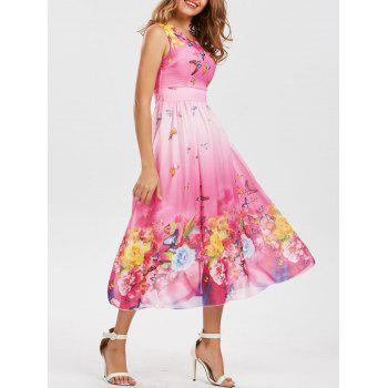 Bohemian Butterfly Floral Print Maxi Dress - PINK 2XL