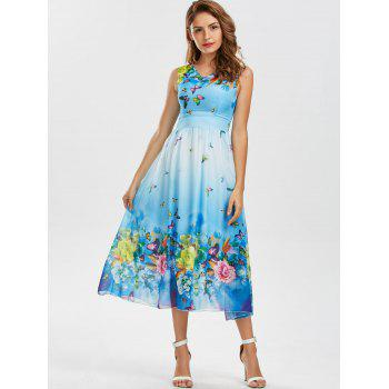 Bohemian Butterfly Floral Print Maxi Dress - WINDSOR BLUE 2XL