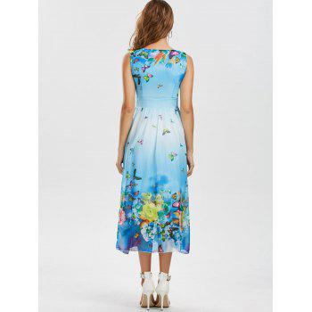 Bohemian Butterfly Floral Print Maxi Dress - WINDSOR BLUE WINDSOR BLUE