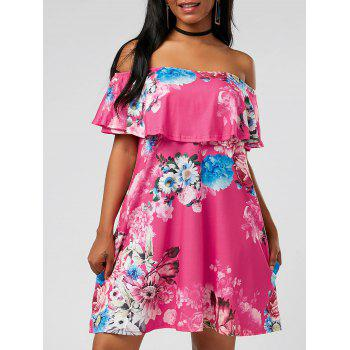 Off The Shoulder Floral Ruffle Pockets Dress