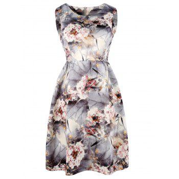 Floral Sleeveless Printed Fit and Flare Dress