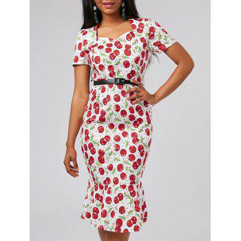 Cherry Print Bodycon Mermaid Dress