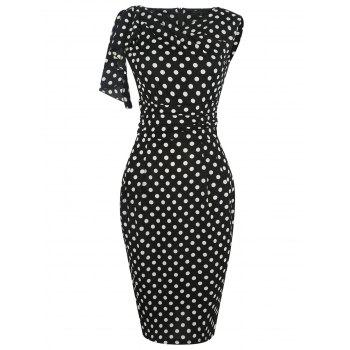 Flounce Polka Dot Print Drape Pencil Dress
