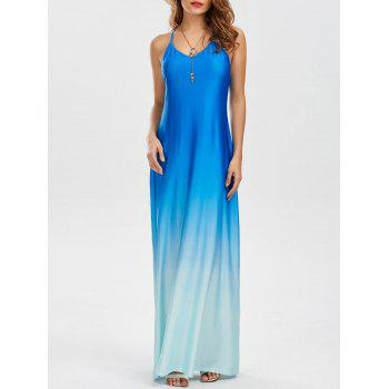Ombre Color Open Back Maxi Dress
