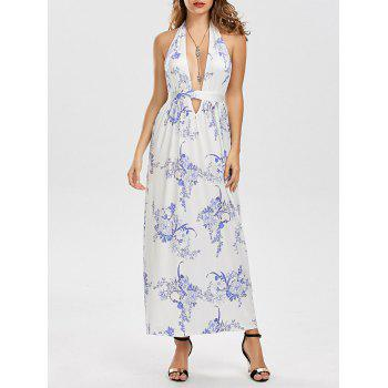 Hlater Floral Cutout Backless Maxi Dress