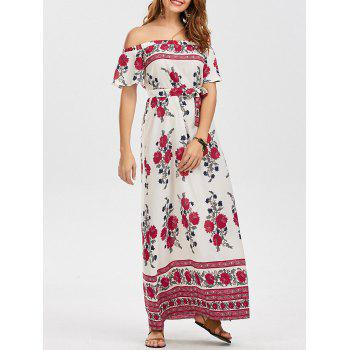 Off The Shoulder Floral Maxi Dress with Belt