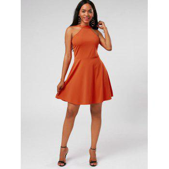 High Neck Fit and Flare Mini Cocktail Dress - XL XL