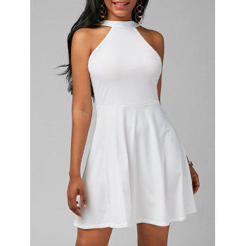 High Neck Fit and Flare Mini Cocktail Dress - WHITE S