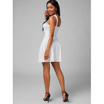 High Neck Fit and Flare Mini Cocktail Dress - WHITE WHITE