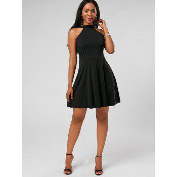High Neck Fit and Flare Mini Cocktail Dress - BLACK XL