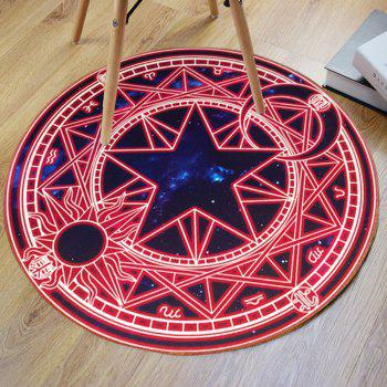 Crystal Velvet Fabric Magic Circle Print Round Bath Rug