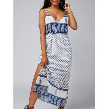 Spaghetti Strap Paisley Print Side Slit Backless Dress