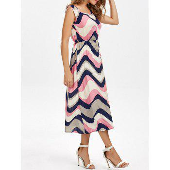 Scoop Neck Colorful Zigzag Sleeveless Dress