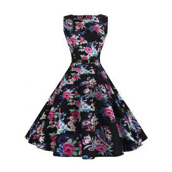 Sleeveless Printed Vintage Dress with Belt
