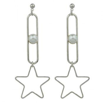 Faux Pearl Hollow Out Star Drop Earrings
