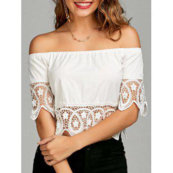 Crochet Lace Panel Off The Shoulder Blouse