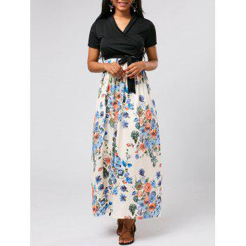 Floral Belted Surplice Ankle Length Dress