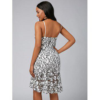 Spaghetti Strap Floral Lace Mermaid Dress - Blanc M