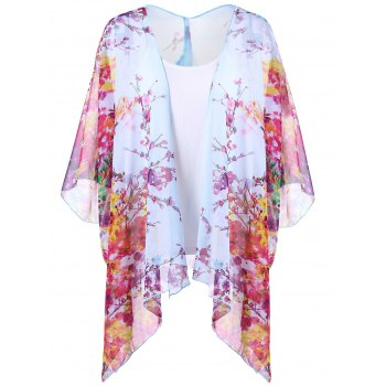 Floral Print Kimono and Cami Top Suit