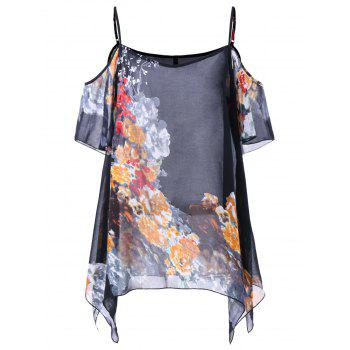 Floral Cold Shoulder Plus Size Blouse