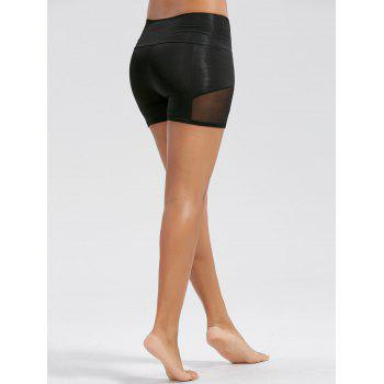 Mesh Stretch High Waist Mini Sports Leggings - BLACK S