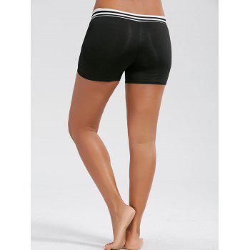 Stripe Mesh Panel Mini Sports Leggings - Noir L