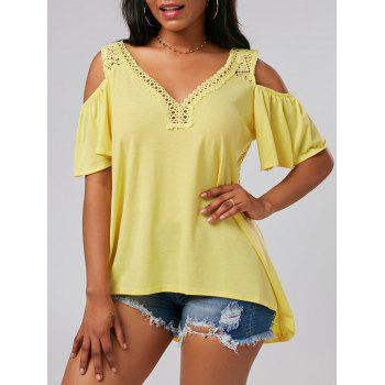 V Neck Crochet Cold Shoulder Tunic Top