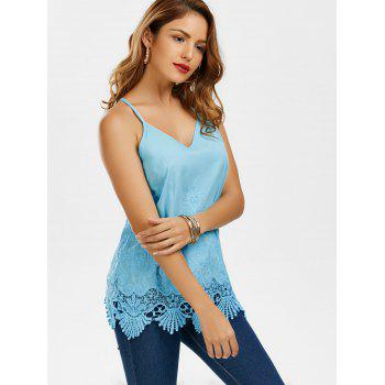 Embroidered Lace Trim Cami Top - BLUE BLUE