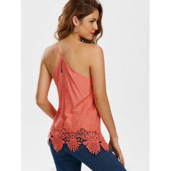 Embroidered Lace Trim Cami Top - WATERMELON RED WATERMELON RED