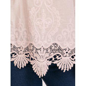 Embroidered Lace Trim Cami Top - PINK PINK