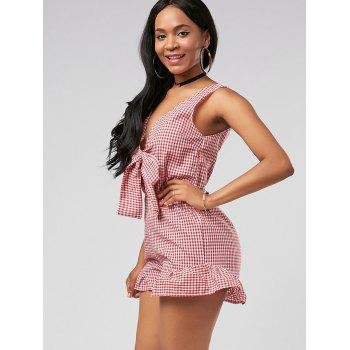 Plunging Neck Checked Bowknot Romper - RED RED