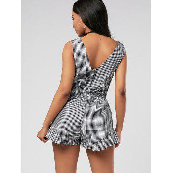 Plunging Neck Checked Bowknot Romper - BLACK BLACK