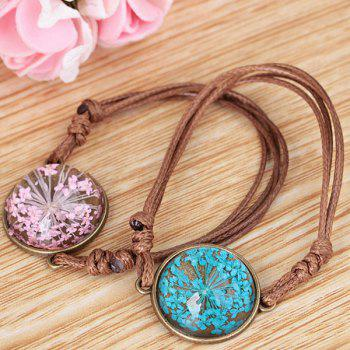 Round Glass Dry Flower Braid Rope Bracelet - BLUE