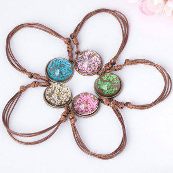 Round Glass Dry Flower Braid Rope Bracelet - PINK