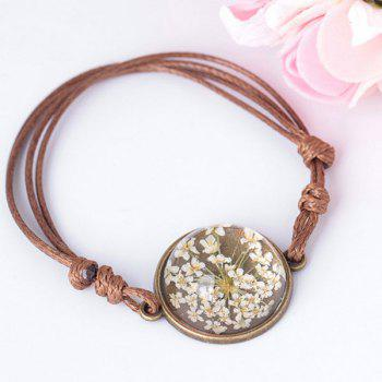 Round Glass Dry Flower Braid Rope Bracelet