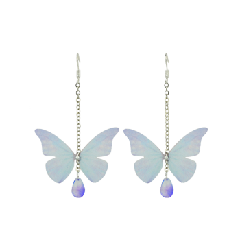 Acrylic Gem Butterfly Shape Drop Earrings