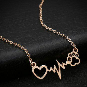 Hollow Out Heart Lightning Paw Shape Necklace