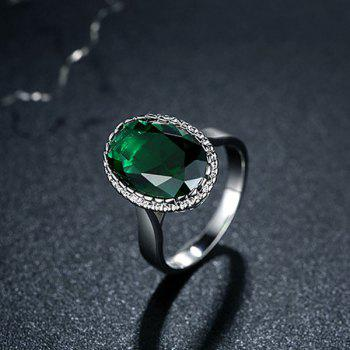 Platinum Plated Zircon Faux Crystal Ring - GREEN GREEN